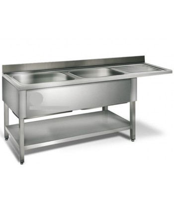 Table de plonge inox 2 bacs...