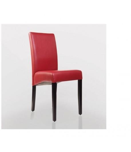 Chaise Design En Bois Wengé Simili Cuir Rouge Pour Café Restaurant Hôtel