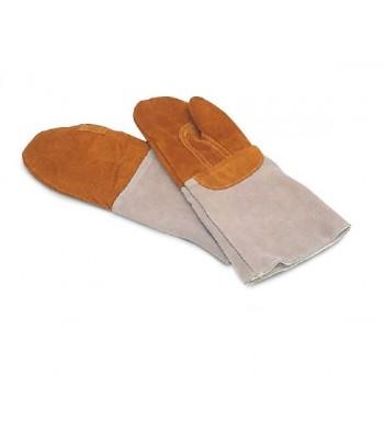 Gants de four en cuir marron